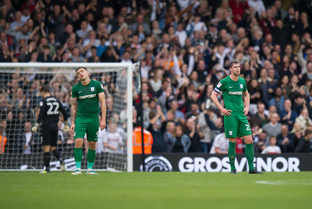 Preston North End's Jordan Hugill and Paul Huntington dejected as Fulham's Denis Odoi scores his side's equalising goal to make the score 2-2<br /> <br /> Photographer Ashley Western/CameraSport<br /> <br /> The EFL Sky Bet Championship - Fulham v Preston North End - Saturday 14th October 2017 - Craven Cottage - London<br /> <br /> World Copyright © 2017 CameraSport. All rights reserved. 43 Linden Ave. Countesthorpe. Leicester. England. LE8 5PG - Tel: +44 (0) 116 277 4147 - admin@camerasport.com - www.camerasport.com