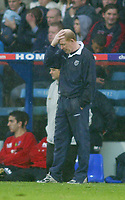 23/10/2004<br />FA Barclays Premiership - Crystal Palace v West Bromich Albion - Selhurst Park<br />West Bromich Albion manager Gary Megson dejectedly wipes the rain from his head during his team's drubbing 3-0.<br />Photo:Jed Leicester/Back Page Images
