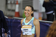 Jessica Ennis-Hill of Great Britain after the 100m hurdles during the Sainsbury's Anniversary Games at the Queen Elizabeth II Olympic Park, London, United Kingdom on 24 July 2015. Photo by Phil Duncan.