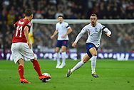 Jordan Henderson of England looking to challenge David Pavelka of Czech Republic during the UEFA European 2020 Qualifier match between England and Czech Republic at Wembley Stadium, London, England on 22 March 2019.