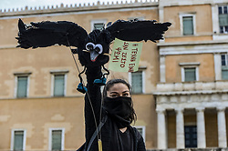 Greek artists and members of artist unions hold a puppet shaped like a bird  while demonstrating at the Syntagma square, in central Athens, on May 7, 2020 during a rally organised by artists, musicians and actors to ask for help to the Greek government for the financial loses due to the lockdown aimed at curbing the spread of the COVID-19<br /> <br /> Pictured: <br /> Dimitris Lampropoulos  | EEm 7 May 2020