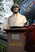 John Hunter ( 1728-1793) bust by Thomas Woolmer 1874, Leicester Square, London, England
