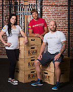 ThirdSpace Fitness co-owners Danielle Valley, Lance Miller, and David Downs, left to right, pose for a portrait at ThirdSpace Fitness in San Jose, California, on September 2, 2015. (Stan Olszewski/SOSKIphoto)
