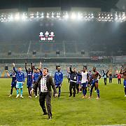 Kayserispor Erciyesspor's players celebrate victory during their Turkish superleague soccer match Kayserispor Erciyesspor between Besiktas at Kadir Has Stadium in Kayseri Turkey on Monday 27 October 2014. Photo by Aykut AKICI/TURKPIX