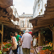 Covered street market in Old Havana