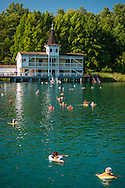 Heviz, Balaton, Hungary, August 2015. The thermal baths of Heviz. Lake Balaton is a freshwater lake in the Transdanubian region of Hungary. It is the largest lake in Central Europe and one of the region's foremost tourist destinations. The mountainous region of the northern shore is known both for its historic character and as a major wine region, while the flat southern shore is known for its resort towns. Photo by Frits Meyst / MeystPhoto.com