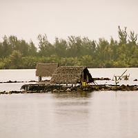 Huahine, French Polynesia, Maeva, Fish ponds and shack