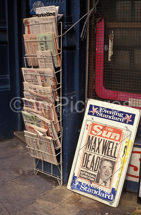 The news that media tycoon Robert maxwell had drowned in the sea is reported in the Sun newspaper, on 6th November 1991, in London, England. In 1991, Maxwells body was discovered floating in the Atlantic Ocean, having fallen overboard from his yacht.