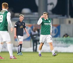 Hibernian's Jason Cummings cele scoring their goal. <br /> Falkirk 1 v 1 Hibernian, Scottish Championship game played 17/1/2015 at The Falkirk Stadium.