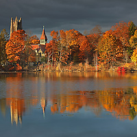 Wellesley College, featuring its iconic Galen Stone Tower which is part of Green Hall and the William S. Houghton Memorial Chapel on a beautiful afternoon in autumn. Fall foliage colors and the historic building are reflected in Lake Waban. Wellesley College is a private, women's, liberal-arts college located in the town of Wellesley, Massachusetts and it is ranked the third best liberal arts college in the United States. Notable alumnae include Hillary Clinton, Madeleine Albright, Soong Mei-ling, Cokie Roberts, and Diane Sawyer. It's most famous student is Hillary Rodham Clinton, Class of 1969. Hillary Rodham Clinton is currently running for president of the United States aiming to make history and becoming the first female US president. <br />