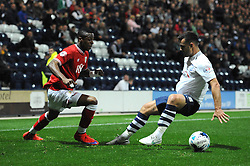 Jonathan Kodjia of Bristol City goes passed Bailey Wright of Preston North End - Mandatory byline: Dougie Allward/JMP - 07966386802 - 15/09/2015 - FOOTBALL - Deepdale Stadium -Preston,England - Bristol City v Preston North End - Sky Bet Championship