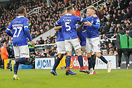 GOAL 1-1 Oldham Athletic forward Sam Surridge (9) scores a penalty to equalise and celebrates during The FA Cup 3rd round match between Fulham and Oldham Athletic at Craven Cottage, London, England on 6 January 2019.