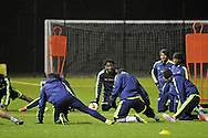 Wilfried Bony © looks on during Swansea city FC team training in Landore, Swansea, South Wales on Wed 19th Feb 2014. the team are training ahead of tomorrow's UEFA Europa league match against Napoli.<br /> pic by Phil Rees, Andrew Orchard sports photography.