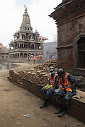 Devastating April 2015 Nepal Earthquake. Rescue workers on Durbar Square in Patan, Kathmandu Valley, where an ancient temple collapsed. Patan is one of three ancient royal cities in the Kathmandu Valley, with a rich cultural heritage and much old architecture.