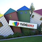 """Th exterior of  Stuart Landsborough's Puzzling World,  a unique attraction specialising in puzzling eccentricity. Puzzling World features """"The Great Maze,"""" the first of the world's modern-style great mazes. It's two storeys high and has 1.5 km of confusing passages..Puzzling World is full of ecentric buildings and puzzling rooms. Wanaka, Otago. South Island, New Zealand. 1st April  2011, Photo Tim Clayton."""
