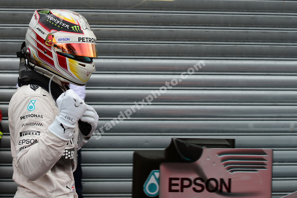 Lewis Hamilton (Mercedes) in parc ferme after qualifying for the 2015 Monaco Grand Prix in Monte Carlo. Photo: Grand Prix Photo