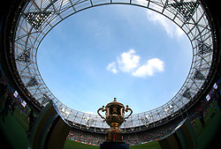 The Webb Ellis trophy during the World Cup match at the Olympic Stadium, London. PRESS ASSOCIATION Photo. Picture date: Sunday October 4, 2015. See PA story RUGBYU Ireland. Photo credit should read: David Davies/PA Wire. RESTRICTIONS: Editorial use only. Strictly no commercial use or association without RWCL permission. Still image use only. Use implies acceptance of Section 6 of RWC 2015 T&Cs at: http://bit.ly/1MPElTL Call +44 (0)1158 447447 for further info.