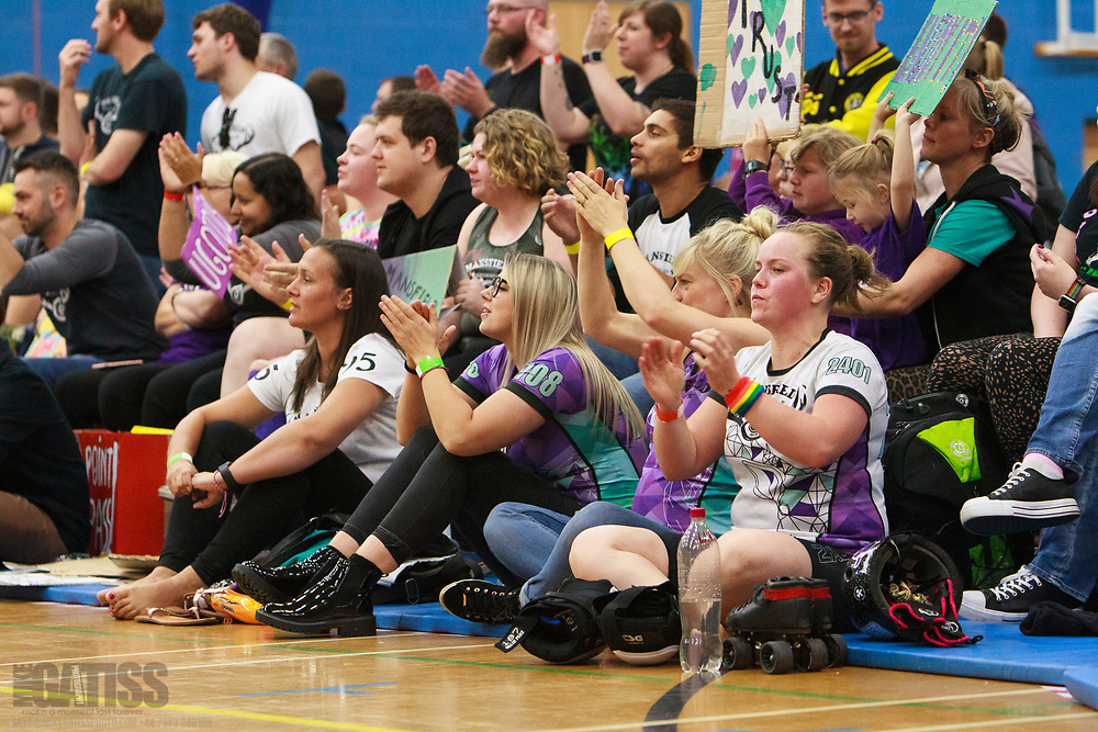 Dorset Roller Girls take on Mansfield Roller Derby in the Quarter Finals of the Tier 2 WFTDA British Champs 2019 Playoffs at Fenton Manor Sports Complex, Stoke-on-Trent, 2019-09-21