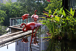 August 15, 2017 - Chongqin, Chongqin, China - Chongqing, CHINA-August 15 2017: (EDITORIAL USE ONLY. CHINA OUT) The Cityzoo Cafe, featuring sculptures of animals including horse, tiger and flamingo, is dubbed as Zootopia in southwest China's Chongqing, August 15th, 2017. (Credit Image: © SIPA Asia via ZUMA Wire)