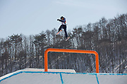 Isabel Atkin, Great British freeskier, during slopestyle practice at the Pyeongchang 2018 Winter Olympics on February 15th 2018, at the Phoenix Snow Park in Pyeongchang-gun, South Korea.