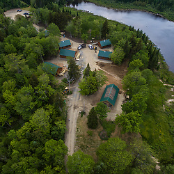 An aerial view of Second Roach Pond and some of the cabins at the Appalachian Mountain Club's Medawisla Lodge in the Maine Woods near Greenville.