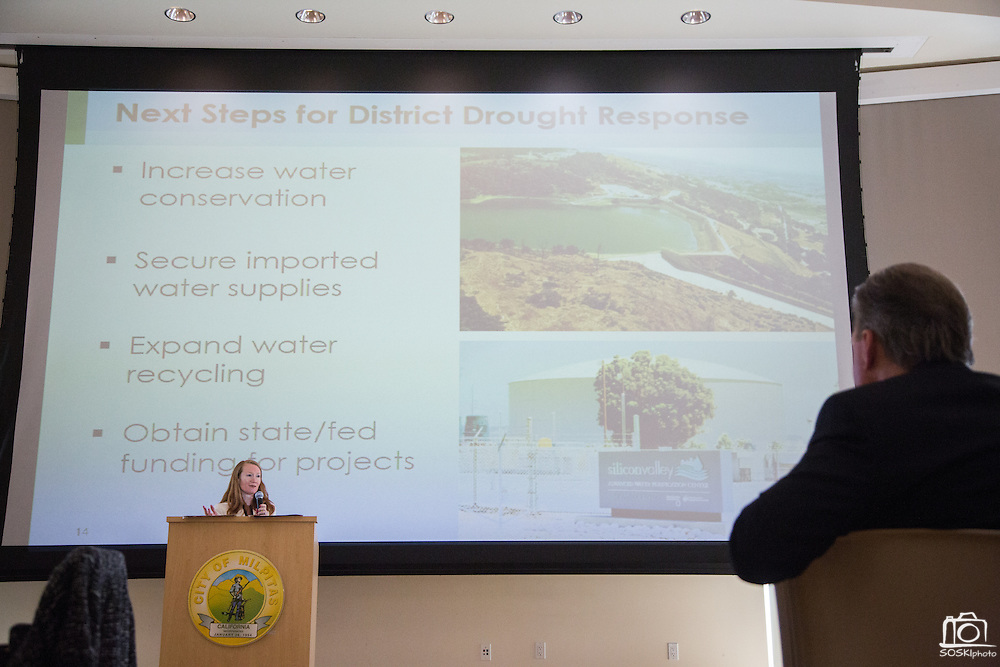 Rachael Gibson of the Santa Clara Valley Water District delivers a Keynote presentation during the Milpitas Chamber of Commerce Business Breakfast at the Milpitas Senior Center in Milpitas, California, on April 14, 2015. (Stan Olszewski/SOSKIphoto)