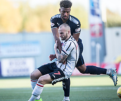 Dunfermline's Kallum Higginbotham and Falkirk's Myles Hippolyte. Falkirk 1 v 1 Dunfermline, Scottish Championship game played 4/5/2017 at The Falkirk Stadium.