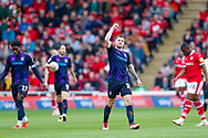 Luton Town forward James Collins (19) celebrates his goal after making the score 3-2 during the EFL Sky Bet League 1 match between Barnsley and Luton Town at Oakwell, Barnsley, England on 13 October 2018.