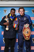 AFC Wimbledon defender Mads Bech Sorensen (26) with Boxer Lerrone Richards during the EFL Sky Bet League 1 match between AFC Wimbledon and Peterborough United at the Cherry Red Records Stadium, Kingston, England on 18 January 2020.