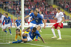 October 14, 2018 - Chorzow, Poland - Cristiano Biraghi of Italy scoring during the UEFA Nations League A match between Poland and Italy at Silesian Stadium in Chorzow, Poland on October 14, 2018  (Credit Image: © Andrew Surma/NurPhoto via ZUMA Press)