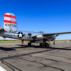 Lancaster, PA, USA - August 22, 2015: B-25 Bomber from World War II era of flight at the Lancaster Airport Community Days air show.