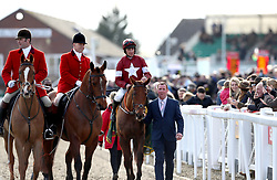 Balko Des Flos and jockey Davy Russell are lead back in after winning the Ryanair Chase during St Patrick's Thursday of the 2018 Cheltenham Festival at Cheltenham Racecourse.