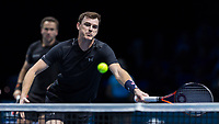 Tennis - 2017 Nitto ATP Finals at The O2 - Day Seven<br /> <br /> Mens Doubles: Semi Final 2 : Jamie Murray (Great Britain) & Bruno Soares (Brazil) Vs Henri Kontinen (Finland) & John Peers (Australia) <br /> <br /> Jamie Murray (Great Britain) stretches to reach as the ball drops over the net at the O2 Arena<br /> <br /> COLORSPORT/DANIEL BEARHAM