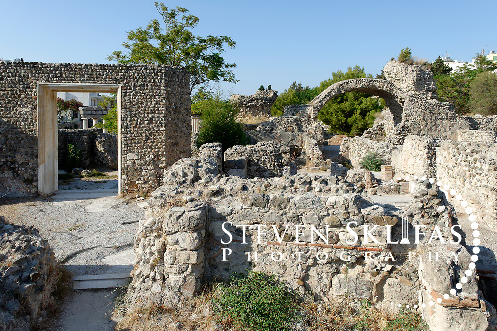 Kos Town. The rebuilt door of a Christian basilica in the Western Archaeological Zone. Kos is part of the Dodecanese island group and birthplace of the ancient physician and father of medicine, Hippocrates.