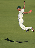 PERTH, AUSTRALIA - DECEMBER 14:  Mitchell Johnson of Australia celebrates taking a catch to dismiss Kevin Pietersen of England during day two of the Third Ashes Test Match between Australia and England at the WACA on December 14, 2013 in Perth, Australia.  (Photo by Paul Kane/Getty Images)
