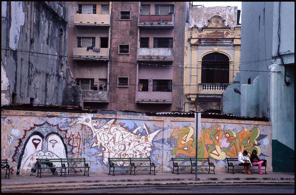 Two Girls Sitting on Bench, Havana, Cuba
