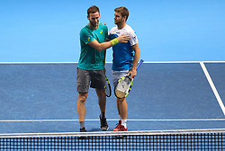 Ryan Harrison and Michael Venus celebrate victory over Jean-Julien Rojer and Horia Tecau during day five of the NITTO ATP World Tour Finals at the O2 Arena, London.