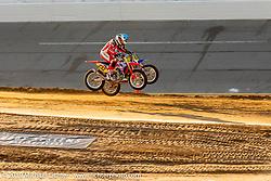 AMA sanctioned flat track racing on the infield of Daytona Speedway during Daytona Beach Bike Week, FL. USA. Thursday, March 14, 2019. Photography ©2019 Michael Lichter.
