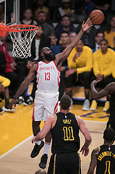April 10, 2018 - Los Angeles, California, U.S - James Harden #13 of the Los Angeles Lakers blocks a shot during their NBA game with the Houston Rockets on Tuesday April 10, 2018 at Staples Center in Los Angeles, California. Lakers lose to Rockets, 105-99. (Credit Image: © Prensa Internacional via ZUMA Wire)