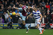 James Chester of Aston Villa (L) in action with Conor Washington of Queens Park Rangers (R). EFL Skybet championship match, Queens Park Rangers v Aston Villa at Loftus Road Stadium in London on Sunday 18th December 2016.<br /> pic by Steffan Bowen, Andrew Orchard sports photography.