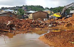 (170815) -- FREETOWN, Aug. 15, 2017 (Xinhua) -- Photo taken on Aug. 15, 2017 shows the mudslide site in Freetown, Sierra Leone. Sierra Leone's President Ernest Bai Koroma has declared seven days of mourning across the country with immediate effect. The president made the announcement through national TV, the Sierra Leone Broadcasting Corporation on Tuesday after a devastating mudslide early Monday killed nearly 300 people on the outskirts of Freetown. (Xinhua/Liu Yu) (Photo by Xinhua/Sipa USA)