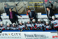KELOWNA, BC - FEBRUARY 8: Kelowna Rockets coaching staff, assistant coach Kris Mallette, Head Coach Adam Foote and Assistant Coach Vernon Fiddler stand on the bench during third period against the Portland Winterhawks at Prospera Place on February 8, 2020 in Kelowna, Canada. (Photo by Marissa Baecker/Shoot the Breeze)