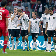 Germany's Thomas MULLER (3ndL) celebrate his goal with team mate during their UEFA EURO 2012 Qualifying round Group A matchday 19 soccer match Turkey betwen Germany at TT Arena in Istanbul October 7, 2011. Photo by TURKPIX