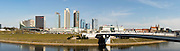 Panoramic view of a Vilnius shopping center from the White Bridge over the Neris River; Vilnius, Lithuania.