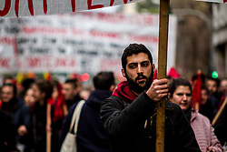 November 17, 2018 - Athens, Greece - The 45th Polytechnic uprising commemoration takes place today with the usual march from the Polytechnic University to the US Embassy. After the march, large scale riots took place in Exarchia area and inside the University, between anti-authoritarians and riot police. (Credit Image: © Kostas Pikoulas/Pacific Press via ZUMA Wire)