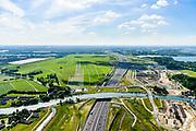 Nederland, Noord-Holland, Gemeente Gooise Meren, 13-06-2017; Muiden, A1 met Aquaduct Muiden (of Aquaduct Vechtzicht). Het aquaduct onder de Utrechtse Vecht is aangelegd in het kader van het project Schiphol-Amsterdam-Almere. Foto richting Amsterdam, met skyline.<br /> Aqueduct under river Vecht, neaar Muiden, motorway A1,<br /> luchtfoto (toeslag op standaard tarieven);<br /> aerial photo (additional fee required);<br /> copyright foto/photo Siebe Swart