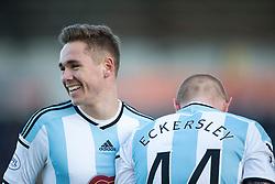 Hearts Sam Nicholson and Hearts Adam Eckersley. <br /> Falkirk 0 v 3 Hearts, Scottish Championship game played 21/3/2015 at The Falkirk Stadium.