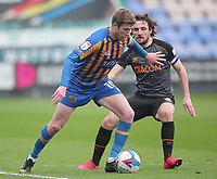 Hull City's Lewis Coyle battles with  Shrewsbury Town's Josh Vela<br /> <br /> Photographer Mick Walker/CameraSport<br /> <br /> The EFL League 1 - Shrewsbury Town v Hull City  - Saturday  20th March  2021 -  Montgomery Waters Meadow Stadium-Shrewsbury<br /> <br /> World Copyright © 2020 CameraSport. All rights reserved. 43 Linden Ave. Countesthorpe. Leicester. England. LE8 5PG - Tel: +44 (0) 116 277 4147 - admin@camerasport.com - www.camerasport.com