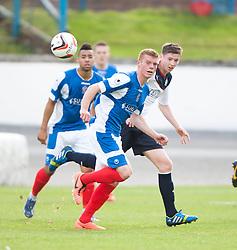 Cowdenbeath's Jon Robertson and Falkirk's Connor McGrandles.<br /> Half time; Cowdenbeath v Falkirk, 14/9/2013.<br /> ©Michael Schofield.