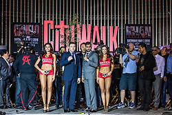 """LOS ANGELES, CA - MARCH 2: WBC, Ring Magazine and Lineal Middleweight World Champion Canelo Alvarez (46-1-1, 32 KOs) and  former two-time world champion and resurgent contender Amir """"King"""" Khan (31-3, 19 KOs) faceoff during Canelo vs Khan press conference at Universal CityWalk - Five Towers Stage on March 2, 2016 in Los Angeles. Canelo vs. Khan, a 12-round fight for Canelo's WBC, Ring Magazine and Lineal Middleweight World Championships, is promoted by Golden Boy Promotions in association with Canelo Promotions and sponsored by Cerveza Tecate, BORN BOLD, O'Reilly Auto Parts and Casa Mexico Tequila. The mega-event will take place on Saturday, May 7 at T-Mobile Arena in Las Vegas and will be produced and distributed live by HBO Pay-Per-View beginning at 9:00 p.m. ET/6:00 p.m. PT. Byline, credit, TV usage, web usage or linkback must read SILVEXPHOTO.COM. Failure to byline correctly will incur double the agreed fee. Tel: +1 714 504 6870."""